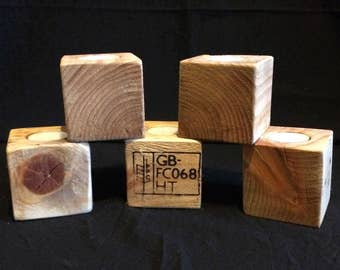 Set of 5 upcycled pallet wood tea light candle holders