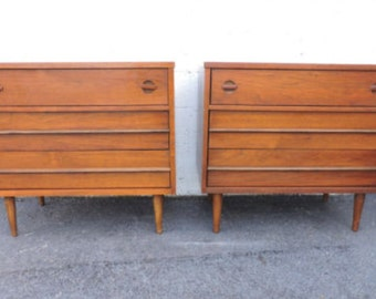Mid Century Large Nightstands Pair of End Tables Side Tables Small Dressers by Bassett  7817