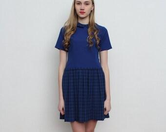 Vintage Blue Pleated Mini Dress