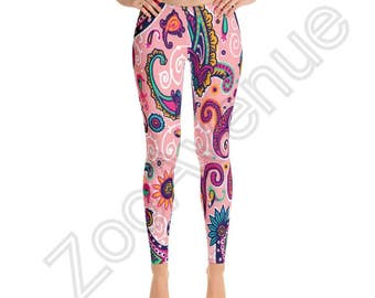 Pink Paisley Leggings Yoga Pants Made in USA XS S M L XL