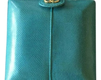 Convertible Snakeskin Clutch Or Crossbody Handbag From Spain: Susan Gail, blue, turquoise, bag, leather bag, vintage purse, leather
