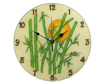 Oriental Home Decor, Bamboo Wall Clock, Silent, Large Modern Clock, Glass Original Painting Clock, Gift for Her, Offife Clock