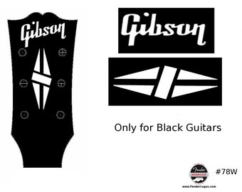 Gibson White Guitar Decal Waterslide Decal Headstock Restoration Logo #78W