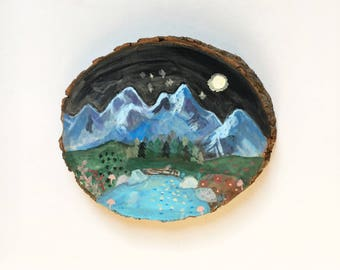 Mountains in the night sky- wood art
