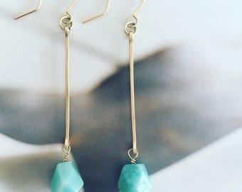 Amazonite, Boho earrings, minimalist earrings, dangle earrings, bridesmaid earrings, gold earrings, delicate earrings, long earrings