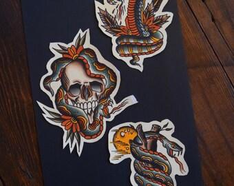 Snakessssss Tattoo Flash Print