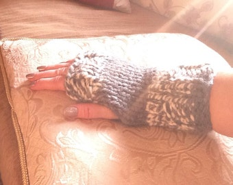 Chunky handknitted wristwarmers