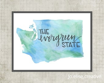 Washington, Evergreen State, INSTANT DOWNLOAD, Watercolor print