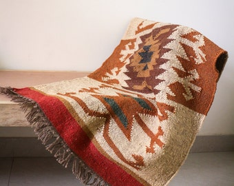 Handmade KILIM Rug, Multicolor; Jute Rug; Kilim Dhurrie; traditional Indian; Chic Victorian Hipster; FREE SHIPPIING Worldwide