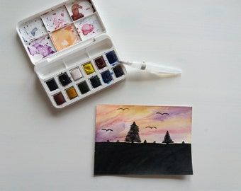 Handmade aquarel postcard sunset