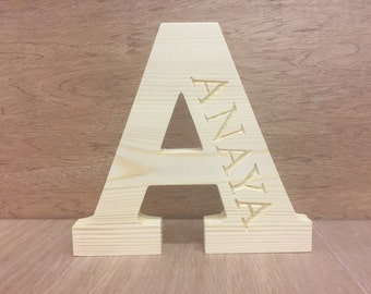 Solid pine letter with a name on free standing
