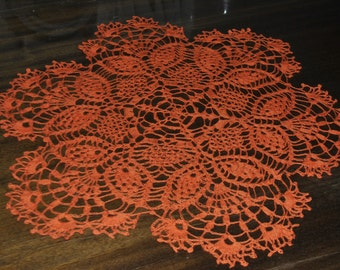 Crochet orange doily / 18.5 inches (47 cm)