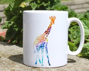 Giraffe mug - Animal mug - Colorful printed mug - Tee mug - Coffee Mug - Gift Idea