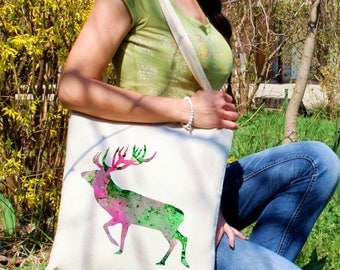 Deer tote bag -  Deer shoulder bag - Fashion canvas bag - Colorful printed market bag - Gift Idea