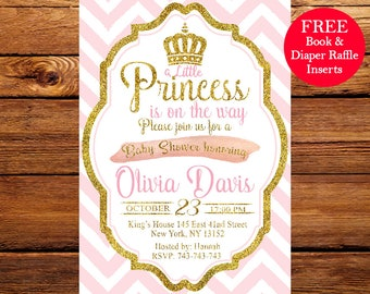 Pink and Gold Princess Baby Shower Invitation, Chevron Invitation, Girl Baby Shower, Gold Glitter invitation, Printable invite 088
