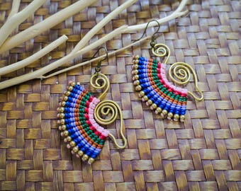Colorful Macrame Waxed Cord Earrings with Brass, Tribal Earrings, Dangle Earrings, Boho Earrings, Fan Earrings