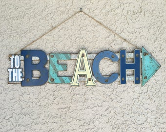 Beach Signs, To The Beach Metal sign, Metal Beach Signs, Nautical signs