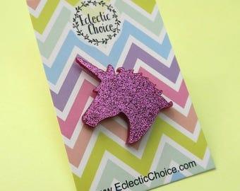 Pink Glitter Unicorn Silhouette Pin Badge ,  Lapel pin , kawaii , magical , fun , sparkle , enamel pin ,