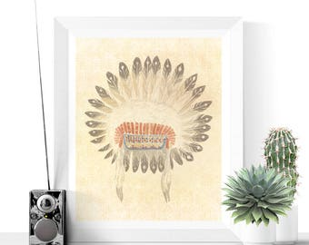 Tribal Art | Native American Headdress Printable | Native Headdress Art | Feather Art | Vintage Prints | Digital Download