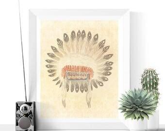 Tribal Art   Native American Headdress Printable   Native Headdress Art   Feather Art   Vintage Prints   Digital Download