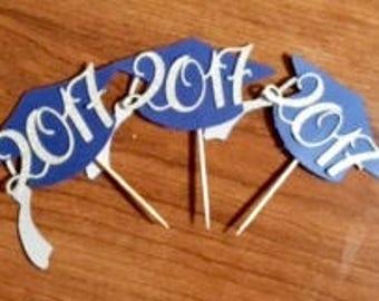 Graduation cupcake toppers, graduation year, graduates initials