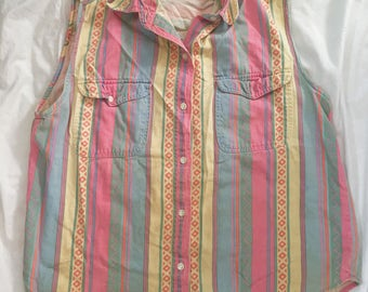 1980s Vintage // Pastek Sleeveless Striped Geometric Button Down // Med-Large