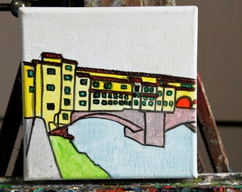 Painting of the ponte vecchio in Florence-dimensions cm15x15x1 .7 cm executed with acrylic on canvas technique