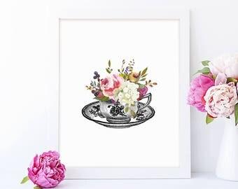 Tea Cup Art, Tea Cup Printable, Tea Cup Print, Kitchen Decor, Farmhouse Style, Printable Art, Instant Download, Art Prints, Gift, Wall Art