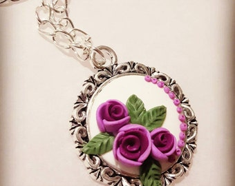 Violet roses polymer clay pendant