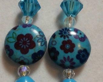 Blue flowered earrings daretodazzlcreations