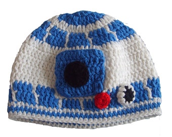 Handmade Star Wars Crochet R2D2 Hat with Ears newborn photo props, baby crochet hat - Super soft yarn. Available in multiple sizes.