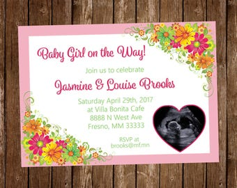 Baby Shower Invitation Flowers Ultrasound Picture (5x7in)