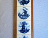 Blue Delft Windmills, Kiln Fired, Ceramic Tile, Wall Hanging, decorative tile, wall art, wall decor, original artwork from Holland