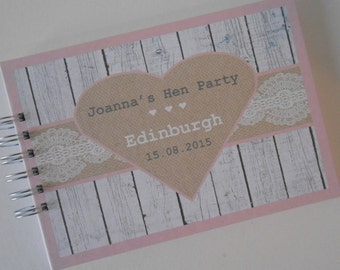 Personalised HEN PARTY Guest Book Photo Album Scrapbook Hen Night Burlap lace Wood Effect Shabby Chic Hen Do Book