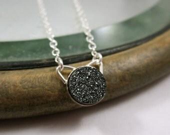 Black Cat - Sterling Silver Black Druzy Necklace