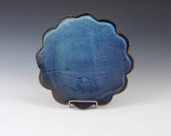 Blue Scalloped Dinner Plate