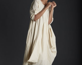 Cowl Dress /Lovely off white asymmetrical dress / summer maxi dress / oversized / loose fit / anti fit