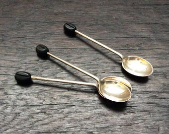 3 Sterling Silver Coffee Spoons / Hallmarked / Tea Spoons / English Silver / 925 / Unique Service Spoons