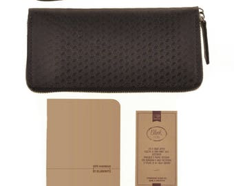 Leather wallet with zipper, Carbon series, Nut brown colour
