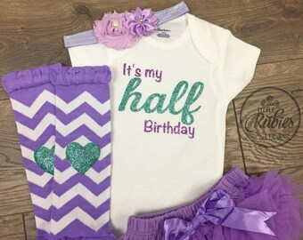 Half birthday outfit girl 1/2 Birthday girl outfit 6 month Baby girl onesie half birthday picture outfit girl It's my birthday outfit photo