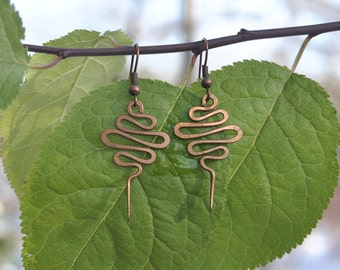 Handmade Copper Earrings Spiral