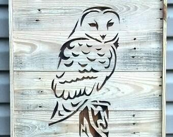 Snow Owl wood cut out wall décor.