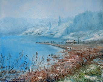 oil landscape original painting Frosty morning