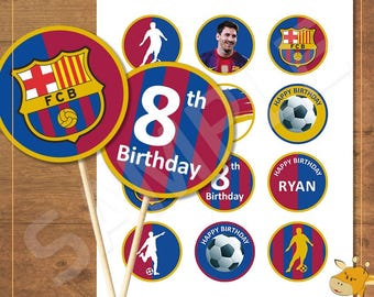 12 Barcelona Cupcake toppers PERSONALIZED, football birthday party - Digital file