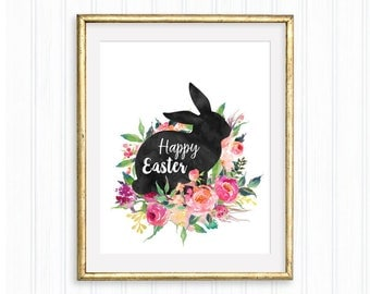 Happy Easter, Easter bunny Printable, Easter watercolor floral, Easter decor, Floral Spring wall art, Easter sign, Easter rabbit wall art