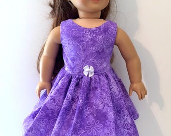 18 Inch Doll Clothes Spring or Summer Dress  With Butterflies and Flowers Optional  Purple Sandals  Fits Like American Girl Doll Clothes