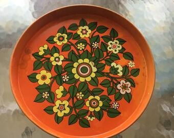 Orange metal tray made in Brazil hippie boho decor vintage circa 1960's