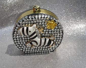 Lovely CONTACT CASE KIT looks like a mini purse Black/Gold/White and Bling