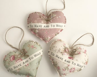 Handmade to have and to hold hanging heart - wedding favours - wedding gift - hanging heart - vintage