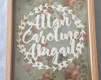 Personalised Family Papercut, Handmade, Gift, Framed